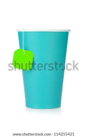 Cardboard tea cup with teabag. Isolated on white background - stock photo