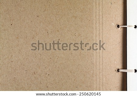 Cardboard texture. Cardboard photo album page with a binding. - stock photo