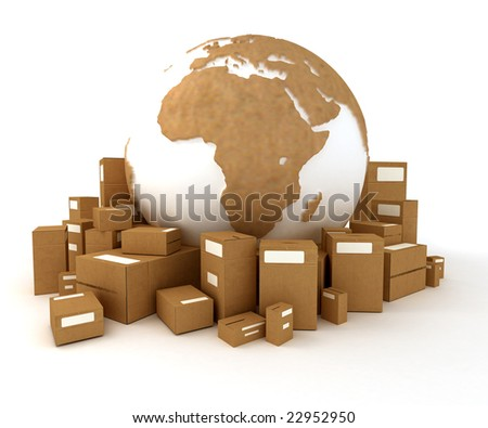 Cardboard textured world Europe oriented with a heap of packages