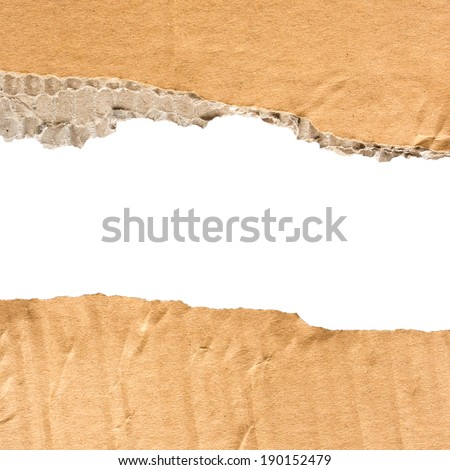 Cardboard torn paper with space for text - stock photo