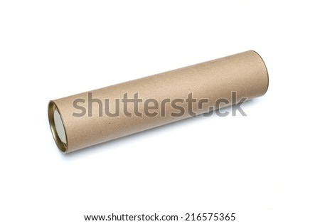 Cardboard tube isolated on white background - stock photo