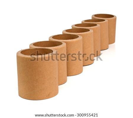 Cardboard tube on a white background - stock photo