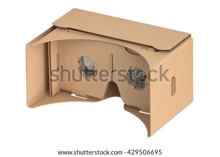 Cardboard virtual reality glasses, 3D rendering  - stock photo