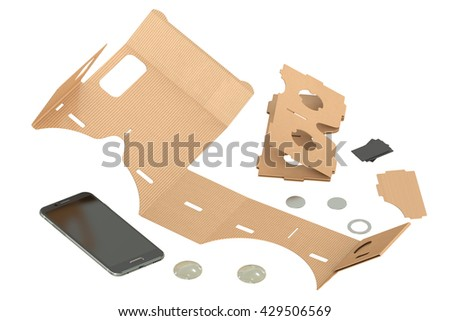 Cardboard VR glasses, 3D rendering isolated on white background - stock photo