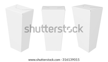 Cardboard white Package Box. Set Of White Package. Mock Up Template Ready For Your Design. isolated on white background. - stock photo