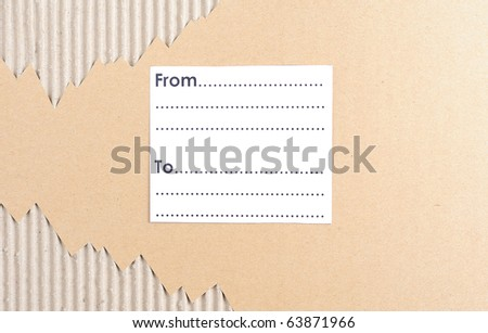 Cardboard with blank space for address in horizontal - stock photo