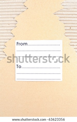 Cardboard with blank space for address in vertical - stock photo