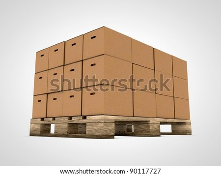 Cardboard with stacked boxes on wooden pallet - stock photo
