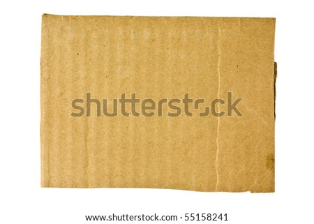Cardboard with torn edges isolated over white