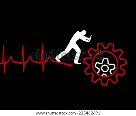 Cardiac Death. Overwork and stress can lead to lethal heart attack - stock photo