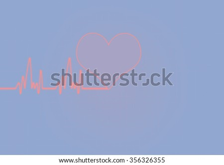 Cardiac Frequency in white Colour with heart shape. - stock photo