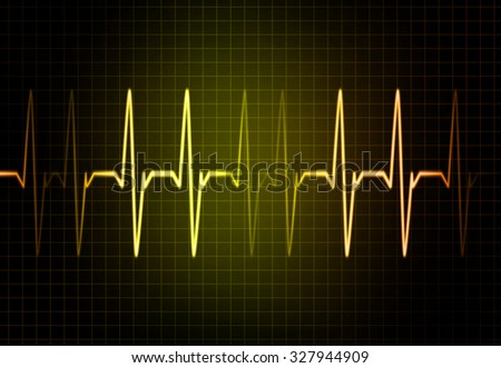 Cardiac Frequency in yellow Color - stock photo