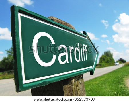 Cardiff signpost along a rural road - stock photo