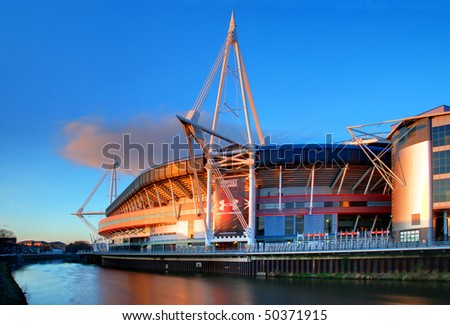 CARDIFF, UK - APRIL 6: The Millenium Stadium is shown on April 6, 2010 in Cardiff, UK. The stadium is celebrating its 10th anniversary and will stage the Wales v S. Africa rugby game on June 5, 2010. - stock photo