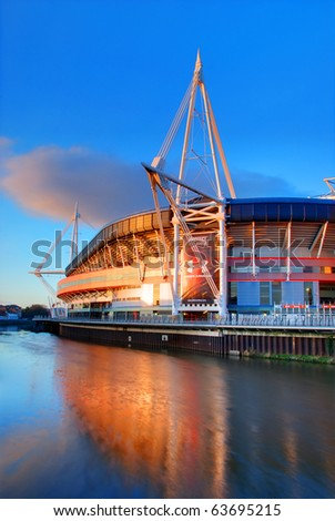 CARDIFF, UK - APRIL 6: The Millennium Stadium is shown on April 6, 2010 in Cardiff, UK. The stadium is celebrating its 10th anniversary and will stage the Wales v Australia rugby game on Nov 6, 2010. - stock photo