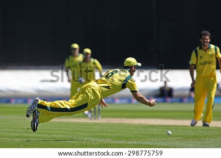 CARDIFF, WALES - June 04 2013: Australia's Mitchell Marsh fielding during the ICC Champions Trophy warm up match between India and Australia at the Cardiff Wales Stadium  - stock photo