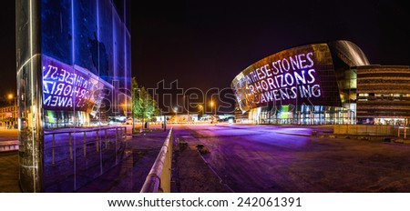 CARDIFF, WALES - SEPTEMBER 29: Wales Millennium Centre Cardiff opened in 2004. September 29, 2014. Designed by architects, Percy Thomas. - stock photo
