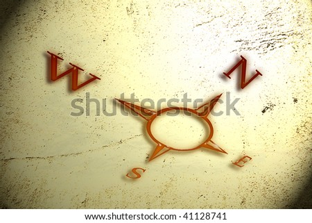 Cardinal points on grungy background. - stock photo