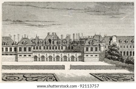 Cardinal Richelieu palace old view (afterwards destroyed by fire in 1763 and restored as Palais-Royal). Created by Best, Leloir, Hotelin and Regnier, published on Magasin Pittoresque, Paris, 1845 - stock photo