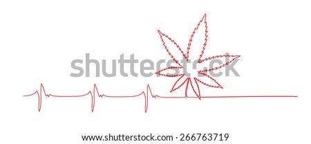 Cardiogram and marijuana leaf as concept for drug addiction - stock photo