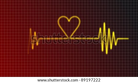 cardiogram curve with heart symbol