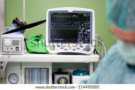 Cardiogram monitor during surgery in operation room