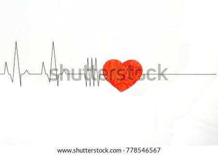 Cardiogram Red Heart On White Background Stock Illustration