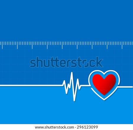 Cardiograms. Medical heart rhythm.Heart beat.Cardiology background.Illustration - stock photo