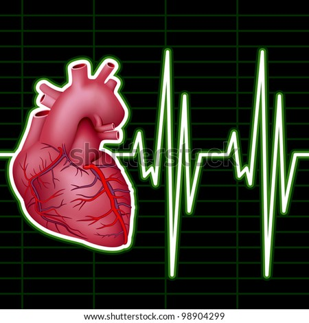 Cardiological Monitor (ECG). Rasterized Version - stock photo