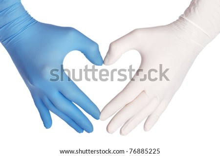 cardiologist in blue and white gloves saving life of all his patients - stock photo