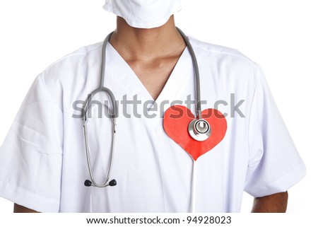 Cardiologist with stethoscope and heart symbol isolated on white - stock photo