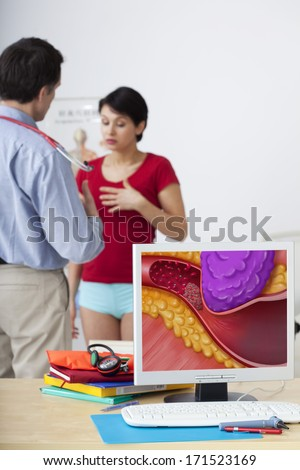 Cardiology Consultation Woman - stock photo