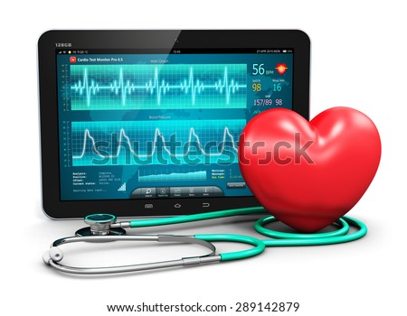 Cardiology healthcare medicine and heart health disease medical tool technology concept: tablet computer with cardiological diagnostic test software, stethoscope and red heart shape isolated on white - stock photo