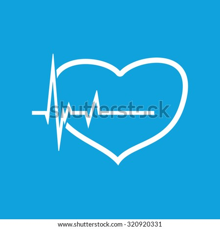 Cardiology icon, simple white image of heart and incoming pulse isolated on blue background - stock photo