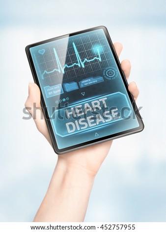 Cardiovascular disease warning displayed on modern tablet - stock photo