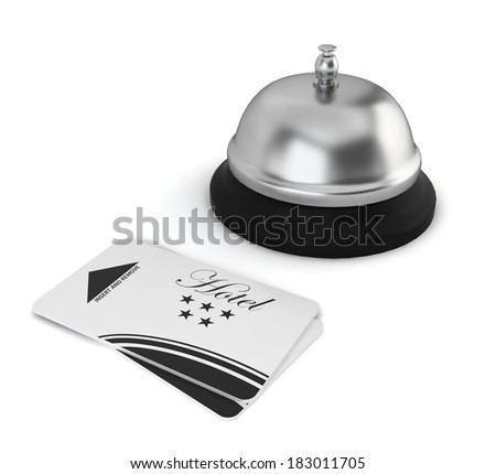 Cardkeys and bell on hotel reception. 3d illustration on white background  - stock photo