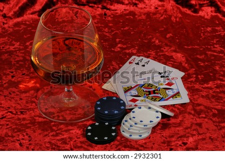 Cards (aces and ladies), whisky and cigar, poker - stock photo