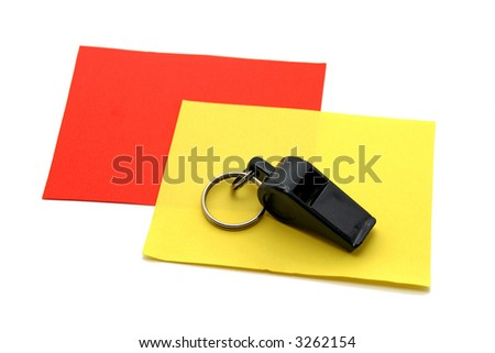 Cards and black whistle football - stock photo