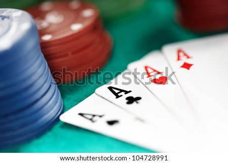 Cards and casino chips. Shallow depth of field for natural view