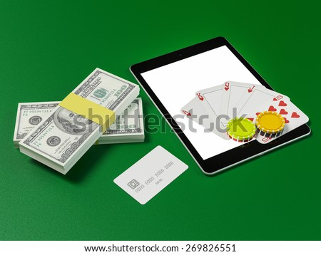 Cards and chips for poker on tablet.  High resolution.  - stock photo