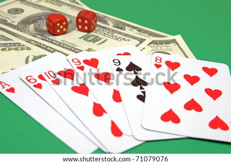 Cards and money - stock photo
