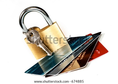 Cards and padlock online banking, credit card transactions, trading, protection, fraud, identity theft, etc. - stock photo