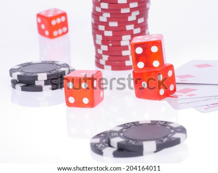 cards, dice and chips for poker, disordered