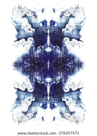 Cards of rorschach inkblot test. Blue watercolor symmetric blotch. Abstract painting. - stock photo