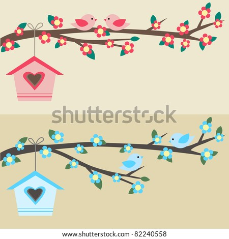 Cards with couples of birds sitting on branches and birdhouses. Raster version. - stock photo