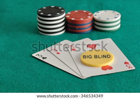 Cards with poker chips and the big blind chip