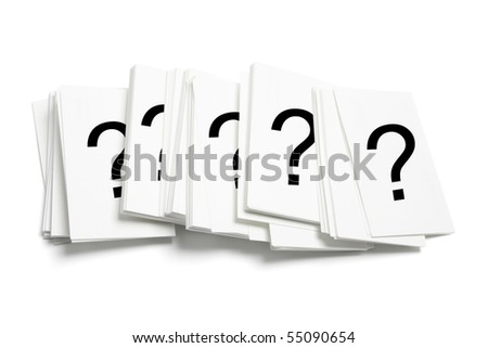 Cards with Question Marks on White Background - stock photo