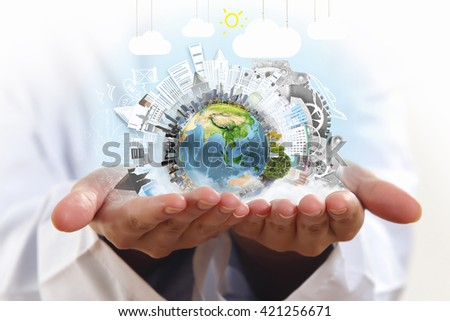 Care and protect our planet - stock photo