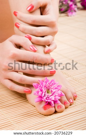 care for sensuality woman legs and hands