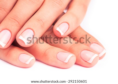 care for sensuality woman nails - stock photo